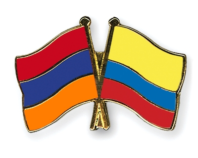 Crossed Flag Pins Armenia Colombia Flags