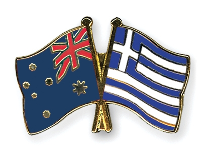 Crossed-Flag-Pins Australia-Greece
