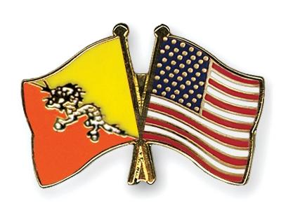 Crossed Flag Pins Bhutan Usa