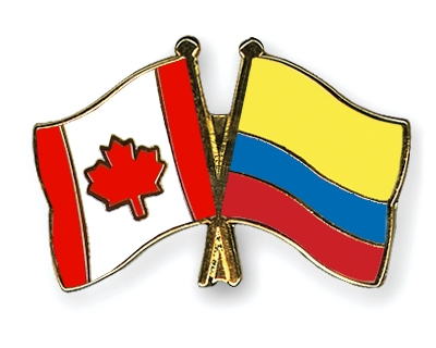 Crossed-Flag-Pins Canada-Colombia