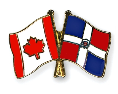 Crossed Flag Pins Canada Dominican Republic