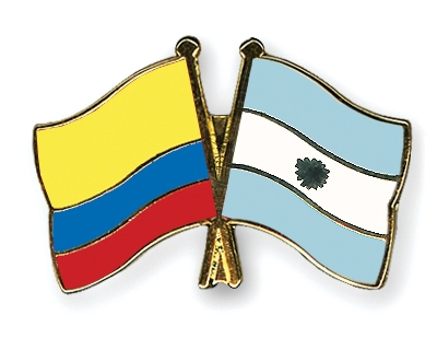 Crossed Flag Pins Colombia Argentina Flags