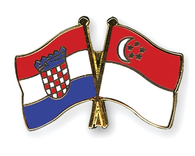 Crossed-Flag-Pins Croatia-Singapore