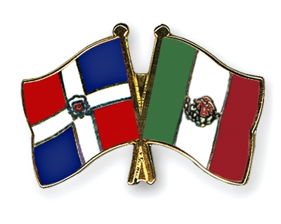 Crossed Flag Pins Dominican Republic Mexico Flags
