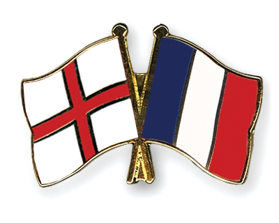 Crossed Flag Pins England-France Flags