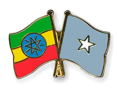 Crossed Flag Pins Ethiopia-Somalia Flags
