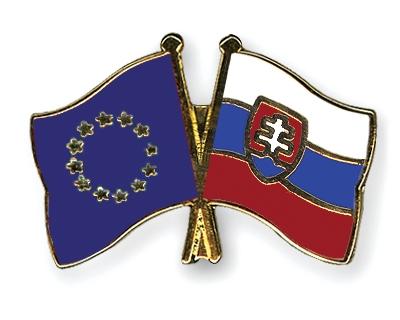 83e09455f4 Crossed Flag Pins European-Union-Slovakia Flags