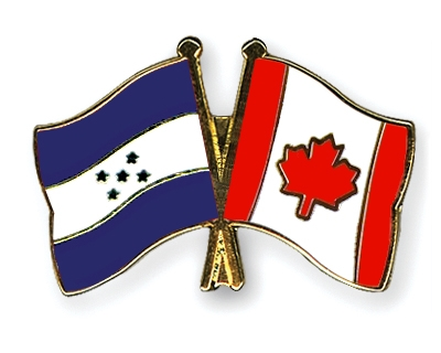 Crossed-Flag-Pins Honduras Canada