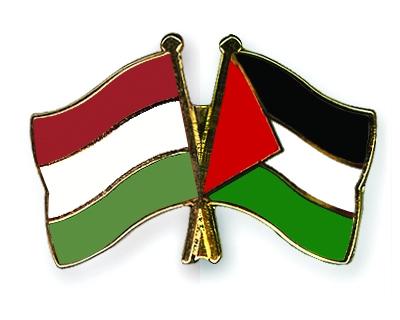 Crossed Flag Pins Hungary-Palestine Flags