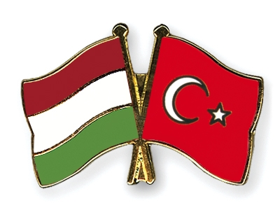Hungarian flag and Turkish flag in together.