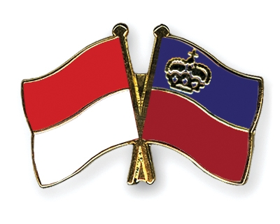 Crossed-Flag-Pins Indonesia-Liechtenstein