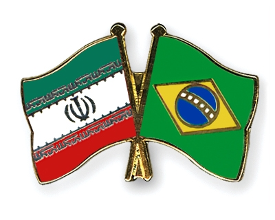 Brazil and Iran crossed flags