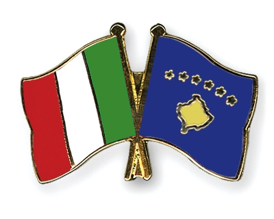 Crossed-Flag-Pins Italy-Kosovo