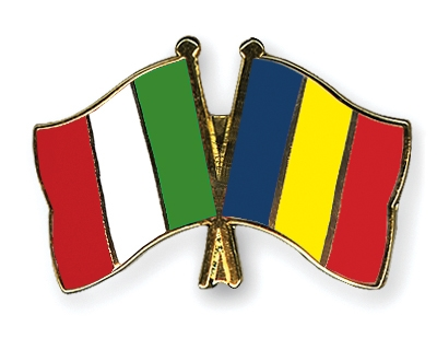 Crossed Flag Pins Italy-Romania Flags