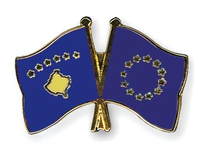 Crossed Flag Pins Kosovo European Union Flags