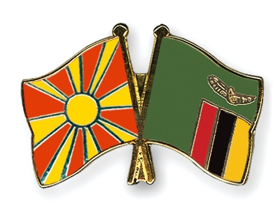 Crossed Flag Pins Macedonia-Zambia Flags