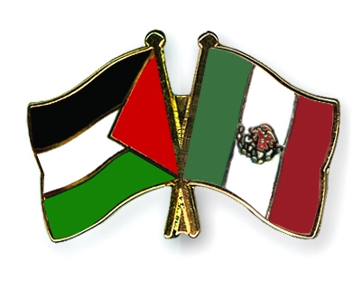 Crossed Flag Pins Palestine Mexico Flags