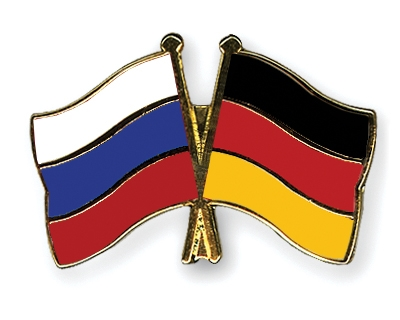 Crossed Flag Pins Russia Germany Flags