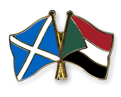 Crossed-Flag-Pins Scotland-Sudan