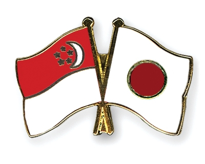 Crossed Flag Pins Singapore-Japan Flags