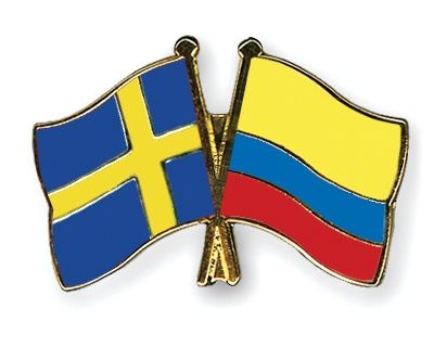 Crossed-Flag-Pins Sweden-Colombia