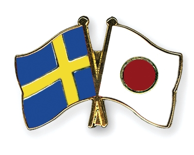 Crossed-Flag-Pins Sweden-Japan