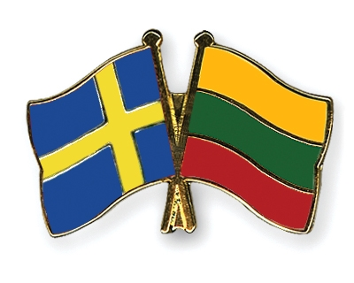 Crossed-Flag-Pins Sweden-Lithuania