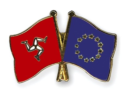 crossed flag pins the isle of man european union flags