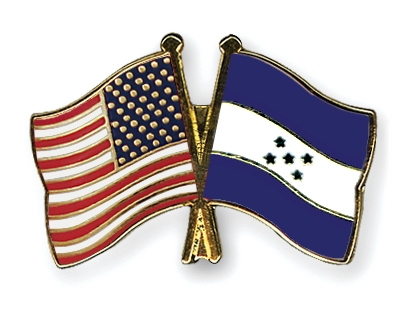 Crossed Flag Pins Usa Honduras