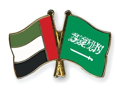 Crossed Flag Pins United Arab Emirates Saudi Arabia