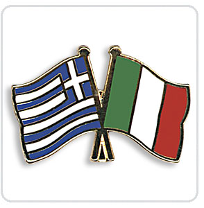 Crossed Flag Pins Greece-Italy