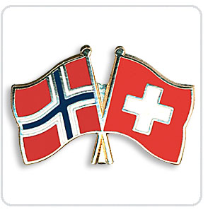Crossed Flag Pins Norway-Switzerland