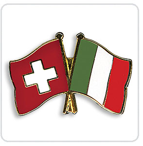 Crossed Flag Pins Switzerland-Italy