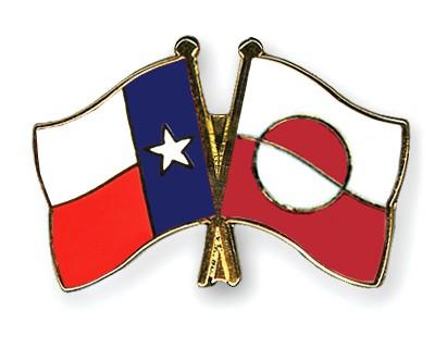 Crossed Flag Pins Texas-Greenland