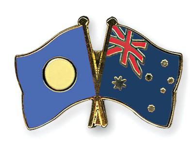 Crossed Flag Pins Palau-Australia