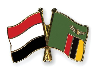 Crossed Flag Pins Yemen-Zambia