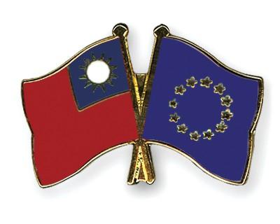 Crossed Flag Pins Taiwan-European-Union