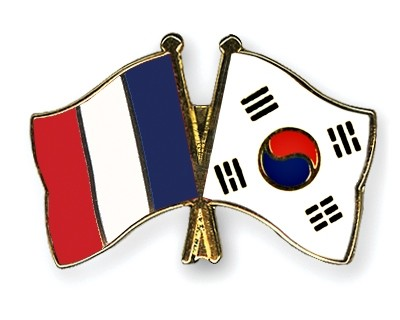 Special Offer Crossed Flag Pins France-South Korea