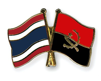 Crossed Flag Pins Thailand-Angola
