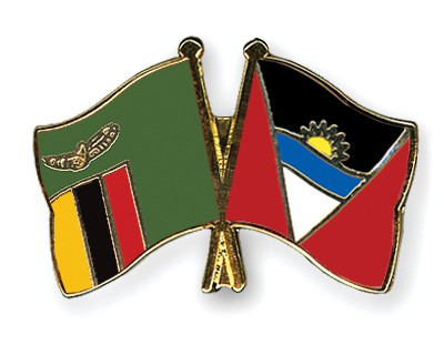 Crossed Flag Pins Zambia-Antigua-and-Barbuda