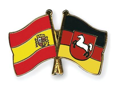 Crossed Flag Pins Spain-Lower-Saxony