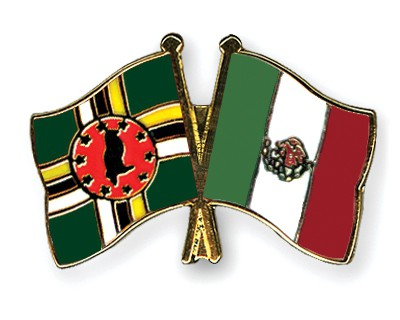 Crossed Flag Pins Dominica-Mexico