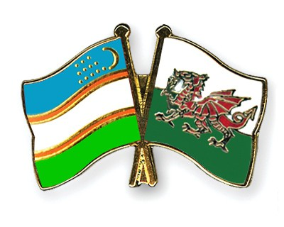 Crossed Flag Pins Uzbekistan-Wales