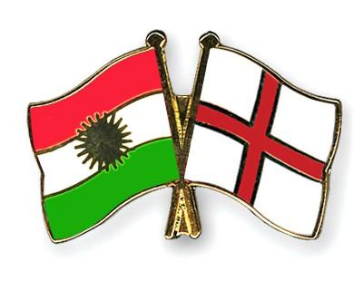 Crossed Flag Pins Kurdistan-England