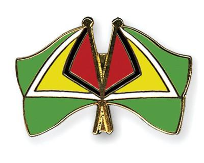 Crossed Flag Pins Guyana-Guyana