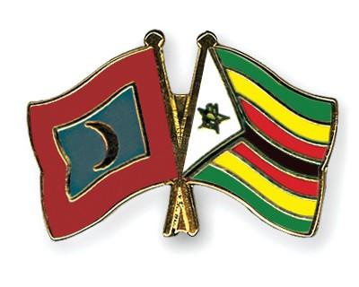 Crossed Flag Pins Maldives-Zimbabwe