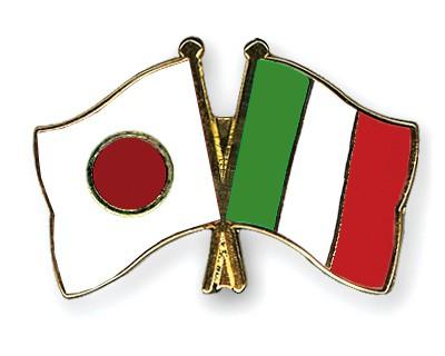 Crossed Flag Pins Japan-Italy