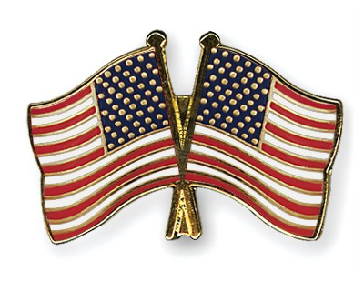 Crossed Flag Pins USA-USA