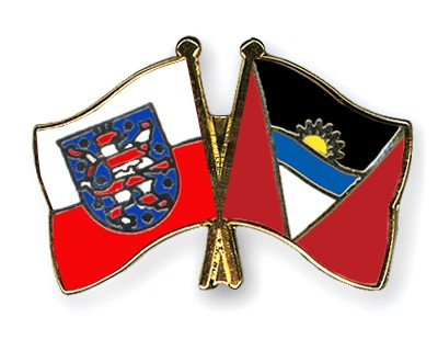 Crossed Flag Pins Thuringia-Antigua-and-Barbuda