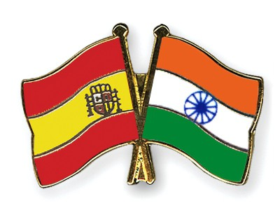 Crossed Flag Pins Spain-India